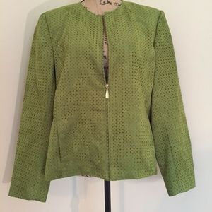 Zip Front Green Peforated Faux Suede Jacket Sz 16